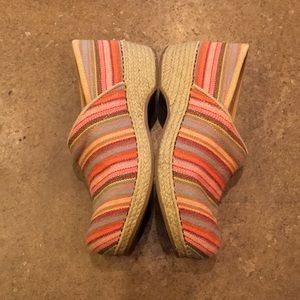 Rainbow Striped Dansko Clogs